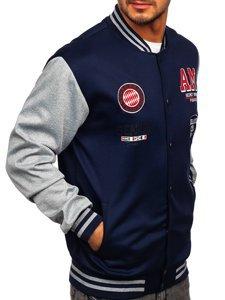 Темно-синяя толстовка-куртка мужская тонкая бейсбольная с принтом Bolf B10155