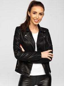 Черная женская кожаная куртка Bolf R210