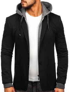 Черная мужская повседневная куртка с капюшоном Bolf 66