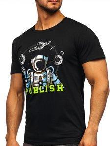 Черная мужская футболка с принтом Bolf S10026