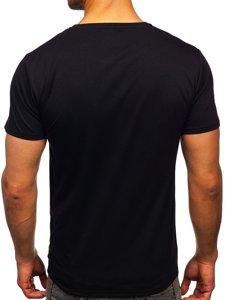 Черная мужская футболка с принтом Bolf Y70002