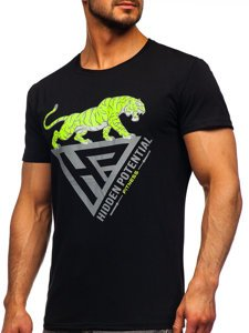 Черная мужская футболка с принтом Bolf Y70013