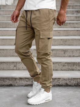 Бежеві чоловічі штани джоггери-карго Bolf 701
