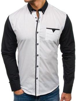 Біла елегантна чоловіча сорочка з довгим рукавом Bolf 5726