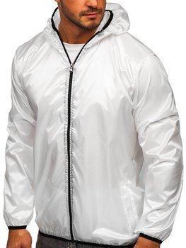 Біла чоловіча демісезонна куртка з капюшоном вітровка BOLF 5060