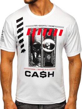 Біла чоловіча футболка з принтом Bolf 14315