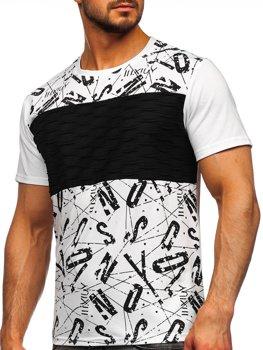 Біла чоловіча футболка з принтом Bolf S18008