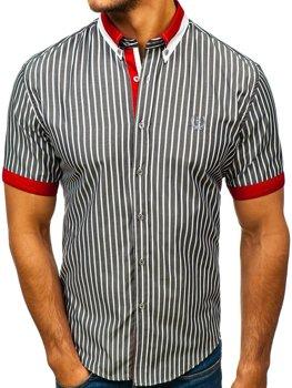 Елегантна чоловіча сорочка у клітину з коротким рукавом сіра Bolf 4501