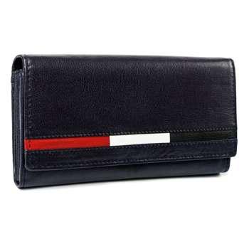 Жіночий шкіряний гаманець темно-синій 7196