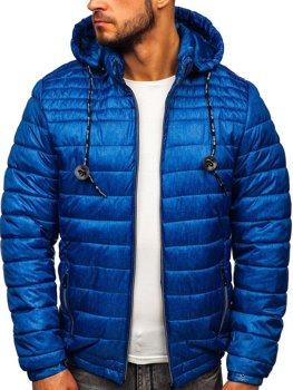 Куртка чоловіча демісезонна спортивна стьобана синя Bolf 50A411