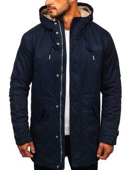 Куртка чоловіча зимова парка темно-синя Bolf EX838