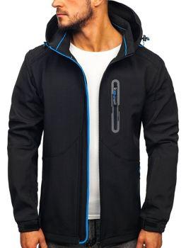Куртка чоловіча софтшелл чорно-синя Bolf 12263