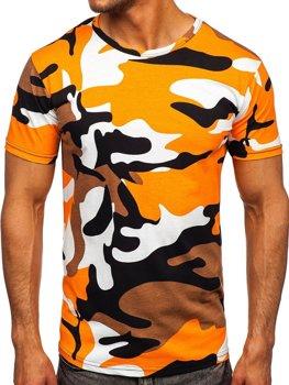 Помаранчева бавовняна футболка чоловіча з принтом камуфляж Bolf 14930