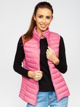 Пудрово-рожевий стьобаний жіночий жилет Bolf 23038