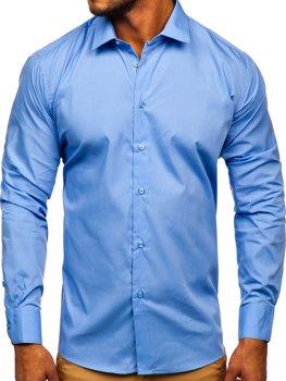 Синя чоловіча елегантна сорочка з довгим рукавом Bolf SM39