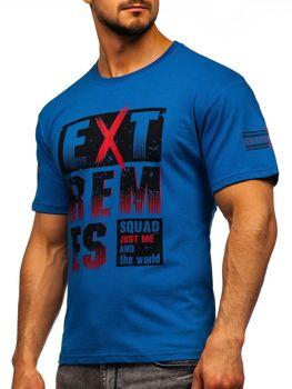 Синя чоловіча футболка з принтом Bolf 14312