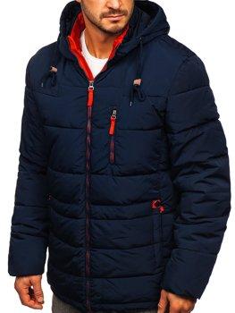 Темно-синьо-червона стьобана чоловіча зимова куртка з капюшоном Bolf M72073