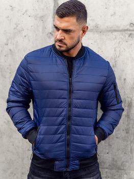 Темно-синя демісезонна чоловіча куртка-бомбер Bolf MY-02