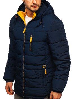 Темно-синя жовта стьобана чоловіча зимова куртка з капюшоном Bolf M72073