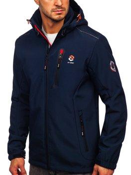Темно-синя помаранчева чоловіча куртка софтшелл Bolf BK118