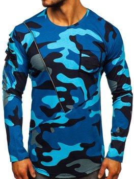 Темно-синя чоловіча футболка з довгим рукавом з принтом камуфляж Bolf 1090