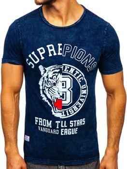 Темно-синя чоловіча футболка з принтом Bolf HFM015