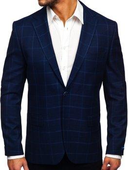 Темно-синій картатий Чоловічий піджак кежуал Bolf S2002