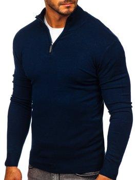 Темно-синій чоловічий светр з високим коміром стійка Bolf YY08