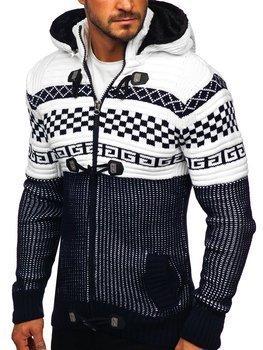 Темно-синій чоловічий светр товстої в'язки Bolf 2061