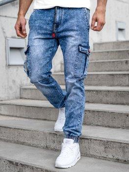 Темно-сині чоловічі джинсові штани джоггери-карго Bolf T350