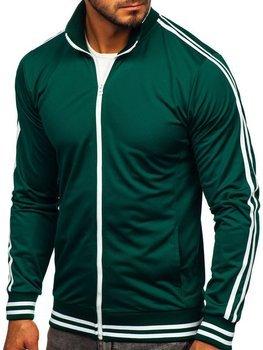 Толстовка чоловіча без капюшона ретро стиль зелена Bolf 11113