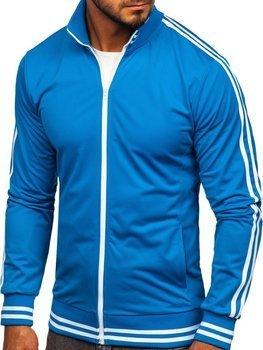 Толстовка чоловіча без капюшона ретро стиль синя Bolf 11113