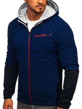 Толстовка чоловіча флісова з капюшоном темно-синій Bolf YL005