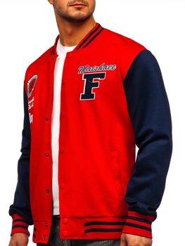 Червона толстовка-куртка чоловіча тонка бейсбольна з принтом Bolf B10160