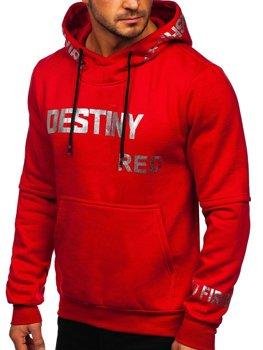 Червона чоловіча толстовка з капюшоном з принтом Bolf 80660