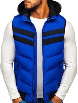 Чоловіча безрукавка з капюшоном синя Bolf 5803