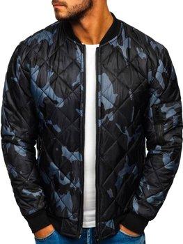 Чоловіча демісезонна куртка-бомбер камуфляж-графітова Bolf MY01
