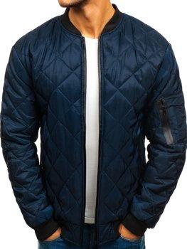 Чоловіча демісезонна куртка бомбер темно-синя Bolf AK76-A