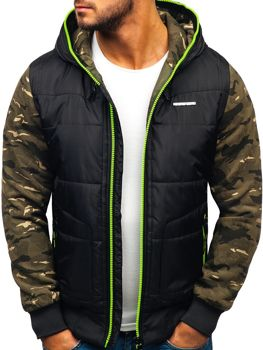 Чоловіча демісезонна спортивна куртка чорно-салатова Bolf 3756-A