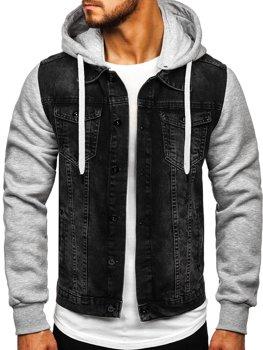 Чоловіча джинсова куртка з капюшоном чорна Bolf 211902
