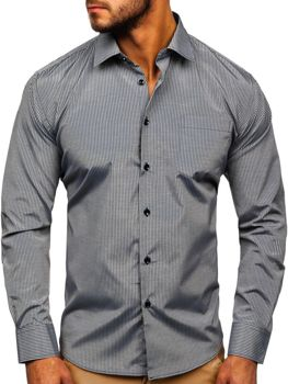 Чоловіча елегантна сорочка в смужку з довгим рукавом сіра Bolf NDT10