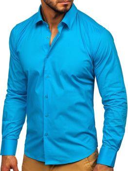 Чоловіча елегантна сорочка з довгим рукавом бірюзова Bolf TS50