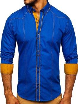 Чоловіча елегантна сорочка з довгим рукавом волошкова Bolf 4777