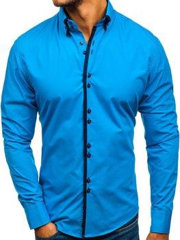 Чоловіча елегантна сорочка з довгим рукавом синя Bolf 1721-A