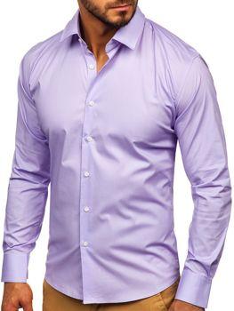 Чоловіча елегантна сорочка з довгим рукавом фіолетова Bolf TS50