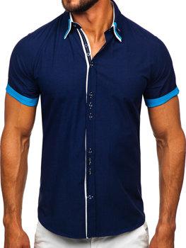 Чоловіча елегантна сорочка з коротким рукавом темно-синя Bolf 2926 7797d9a7c976b
