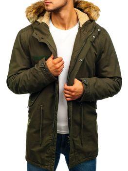 Чоловіча зимова куртка парка зелена Bolf YL002
