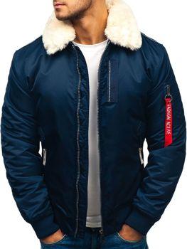 Чоловіча зимова куртка парка темно-синя Bolf 1787