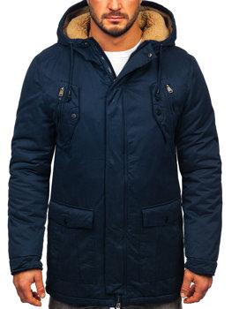Чоловіча зимова куртка парка темно-синя Bolf 1794