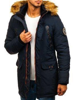 Чоловіча зимова куртка парка темно-синя Bolf 5312